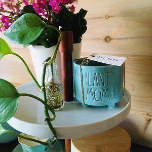 Rae Dunn Teal Plant Mom Planter BNWT - U-02